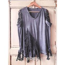 T Shirt Top Cotton Boho Distressed Grunge Gothic Upcycled Magnolia Pearl style