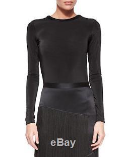 Tamara Mellon Long-Sleeve Backless Bodysuit Top XS in black $495