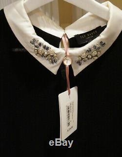 Ted Baker London Women Long Sleeve Scoop Neck Sweater Top Black Cotton Size 4