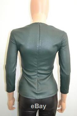 The Row Forest Green Leather Long Sleeve Scoop Neck Blouse/Top Size 2