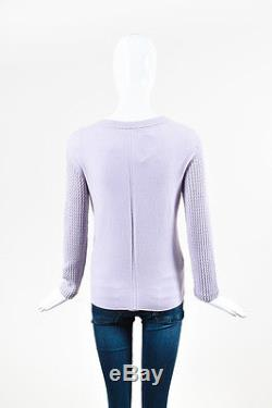 The Row Lavender Purple Cashmere Cable Knit Long Sleeve Sweater Top SZ M