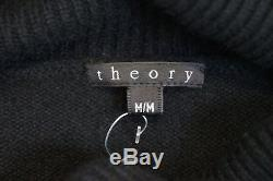 Theory Black 100% Cashmere Polo Neck Long Sleeve Oversized Jumper Sweater Top M