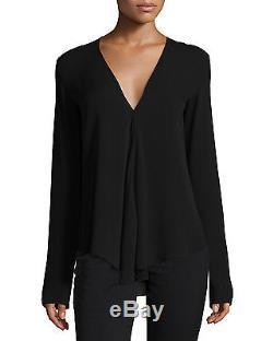 Theory Black Meniph Long-sleeve Silk Top Size S