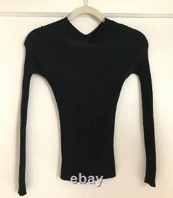 Tom Ford For Gucci Black Wool Blend Ribbed Fitted Sweater Top Size Small