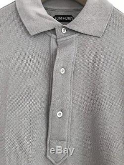 Tom Ford TFJ774 Long Sleeved Polo Shirt Top Light Grey 38- 40 Chest, Size 48