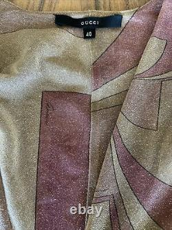 Tom Ford for Gucci Vintage Top Blouse Shirt, Gold Pink Sheer Glitter Plunging 40