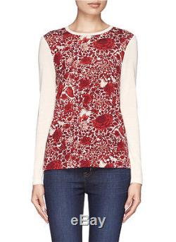 Tory Burch Floral Red Long Sleeve T Shirt Top M Butterfly $225 Celeb Roanan