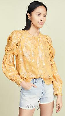 ULLA JOHNSON $500 Aster Citrine Yellow Metallic Ruffle Long Sleeve Blouse Top 6