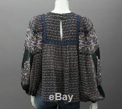 ULLA JOHNSON Black Blue Floral Print Silk Sheer Peasant Blouse Long Sleeve Top 2