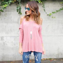 US Womens Cold Shoulder Loose Shirt Blouse Ladies Casual Long Sleeve Cotton Tops