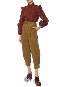 Ulla Johnson Adelaide Ruffle Long Sleeve Top Bordeaux! BNWT! $395