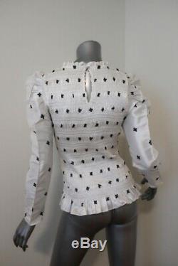 Ulla Johnson Blouse Leonis White Embroidered Taffeta Size 6 Long Sleeve Top