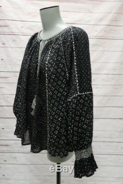 Ulla Johnson Blouse Ritsa Black Printed Cotton Size 6 Long Sleeve Top NEW