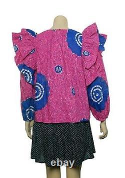 Ulla Johnson Caasi Blouse Top M 8 Women's Printed Long Sleeve Blouse NEW 19570