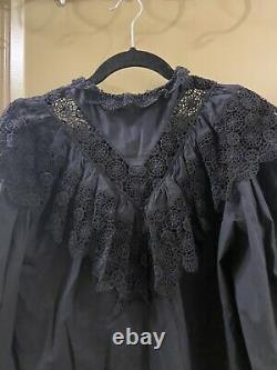 Ulla johnson cotton blend black lace ruffle balloon sleeve top sz M (item 24.1)