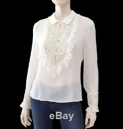 VALENTINO Long Sleeve Embellished Sheer Ivory Silk Evening Blouse Top L