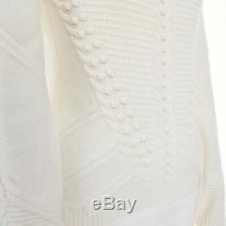 VALENTINO cream wool knit 3D textured crochet collar long sleeve sweater top S