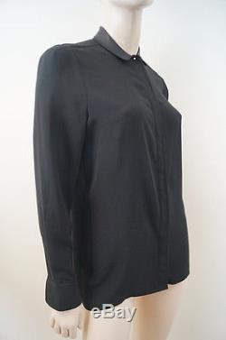 VICTORIA BECKHAM Black Long Sleeve Collared Evening Blouse Shirt Top Sz3 UKM