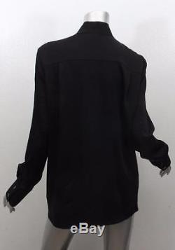 VICTORIA BECKHAM Womens Black Long Sleeve Key Hole Longline Blouse Shirt Top 10