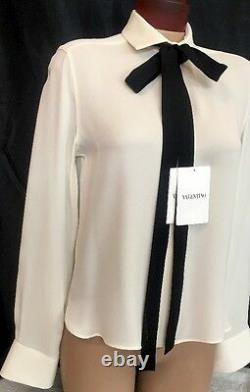 Valentino Blouse Ivory Silk Black Tie Long Sleeve Size 4 NWT $1750