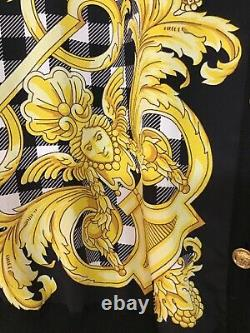 Versace Cardigan Knit And Silk Top Black And Yellow Print Gold Buttons Size 42