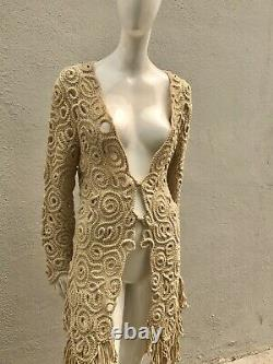 Vintage 80s MATSUDA hand Crocheted Top Robe Dress Kimono Sexy Wool Size M