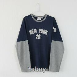 Vintage 90's Navy & Grey New York Yankees Long Sleeve MLB T Shirt Top Medium
