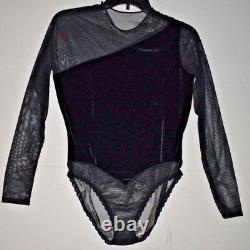 Vintage Christian Dior Velour & Sheer Bodysuit Top Size M
