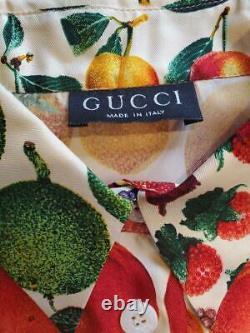 Vintage Gucci Fruit Print Silk Blouse Shirt Tops Tom Ford Era Size 40