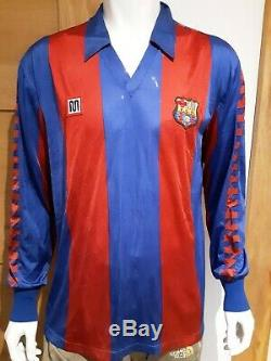 Vintage Mens Barcelona Long Sleeve Football Shirt 1984 Meyba Top Number 9