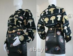 Vintage Moschino Men's Mushroom Print Cotton Button-Up Top L-XL c. 1990s