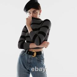 Vintage Prada black grey stripe cotton mockneck cropped crop top miu miu XS S M