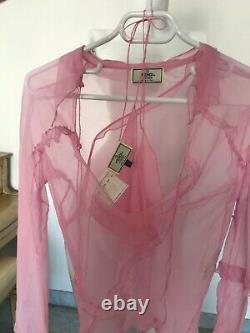 Vintage Silk fendi runway SS2000 blouse and bikini top matching set