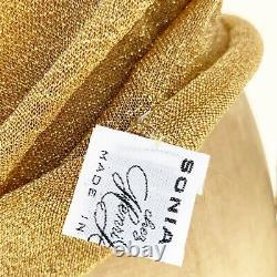 Vintage Sonia Rykiel 60s 70s Gold Lurex Sheer Top Glam Disco Henri Bendel XS/S