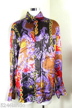 Vintage Versace Jeans Couture Purple Barocco Rayon Long SLeeve Shirt Top L 7 8 9