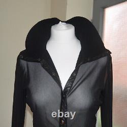 Vivienne Tam Vintage Mesh Black Button Up Top
