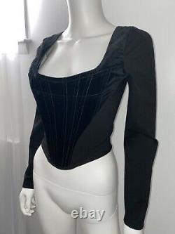 Vivienne Westwood Black Velvet Long Sleeve Corset