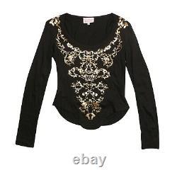 Vivienne Westwood Top Blouse Black Baroque Orb Corset Print Long Sleeve Size S