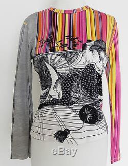 Vtg Nik Nik Top Long Sleeve Multi-Color Extra Rare Jersey Size S/M