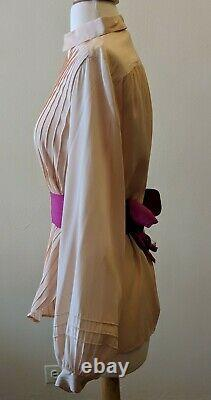 Vtg Peach Apricot Paris Silk Pintuck Bodice Drape Blouse Shirt Top, Poet Sleeves