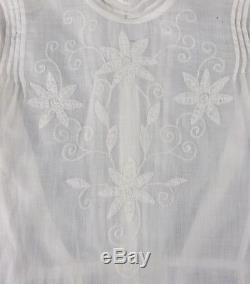 Vtg Victorian Edwardian White Floral Long Sleeve Button Back Blouse Top Shirt