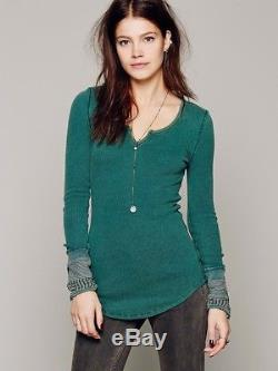 We The Free People Kyoto Cuff Thermal Top Emerald Green S Long Sleeve Waffle