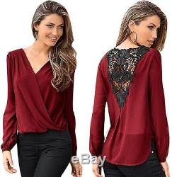 Women Sexy V-neck Tops Loose Long Sleeve T-shirt Casual Lace Splice Blouse HOT