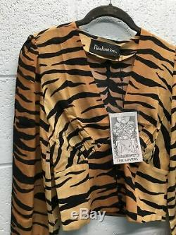 Women's Realisation Long-Sleeved Crop Top XS Tiger Stripe Pattern Silk