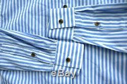 Womens $520 KHAITE Blue White Stripe Long Sleeve XS Blouse Top NEW WITH TAGS
