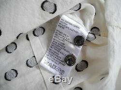 Womens ANN DEMEULEMEESTER black & white polka dot long sleeve blouse top sz 42