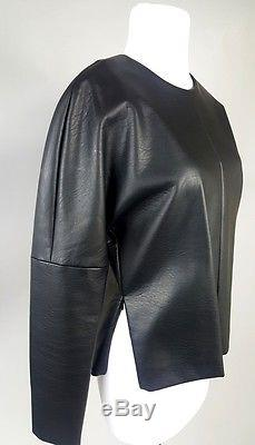 Womens Celine Phoebe Philo Black Vegan Leather Long Sleeve Top Size 38