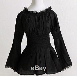 Womens Gothic Victorian Lace Peasant Black Blouses Long Sleeves Hippie Boho Top