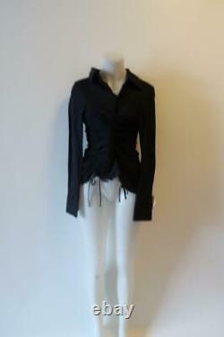Womens Jacquemus Les Santons Provence Black Drawstring Zip Shirt Top 34 Us/xs