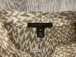 Womens Louis Vuitton Monogram Print Blouse Top Long Sleeve Shirt Size 40
